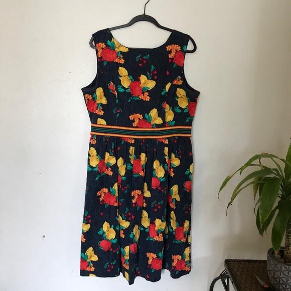 Plus Size floral fruit 50s style dress